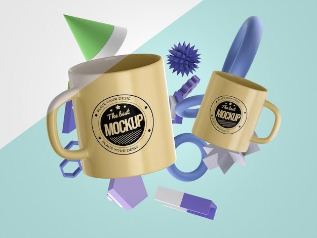 Abstracte mock-up merchandise met een heleboel mokken