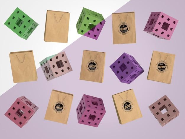 Abstracte mock-up merchandise met papieren zakken en blokjes