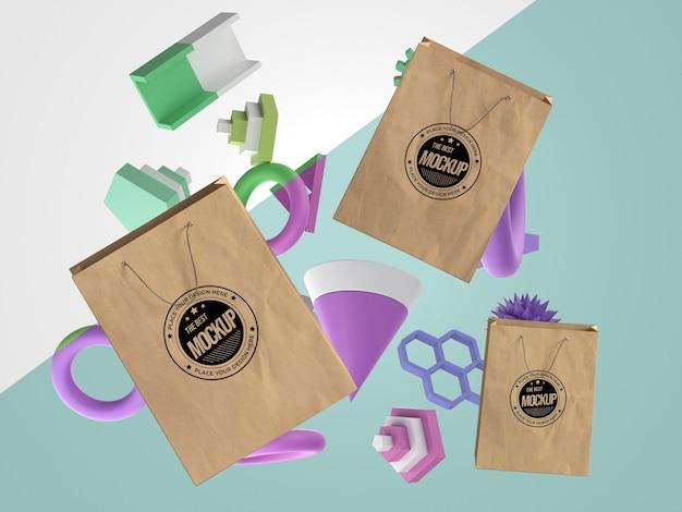 Abstracte mock-up merchandise met papieren zakken
