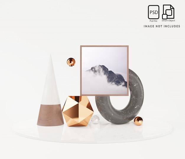 Abstracte mockupscène met het geometrische 3d teruggeven van het vormpodium