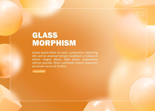 Abstracte oranje bestemmingspagina met morfisme-effect van wazig glas