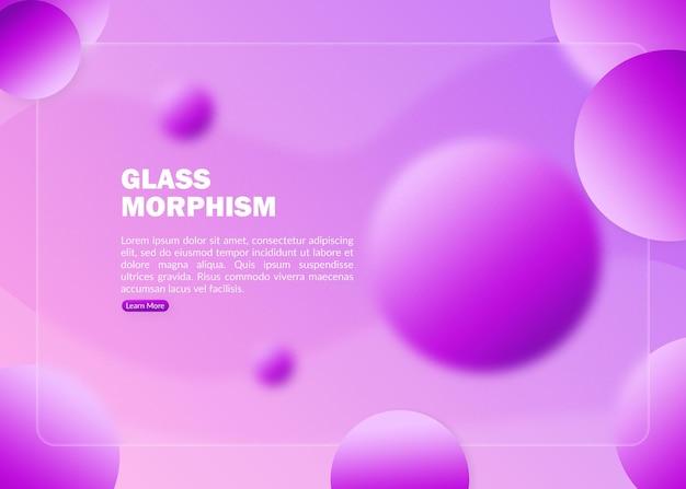 Abstracte paarse bestemmingspagina met wazig glasmorfisme-effect