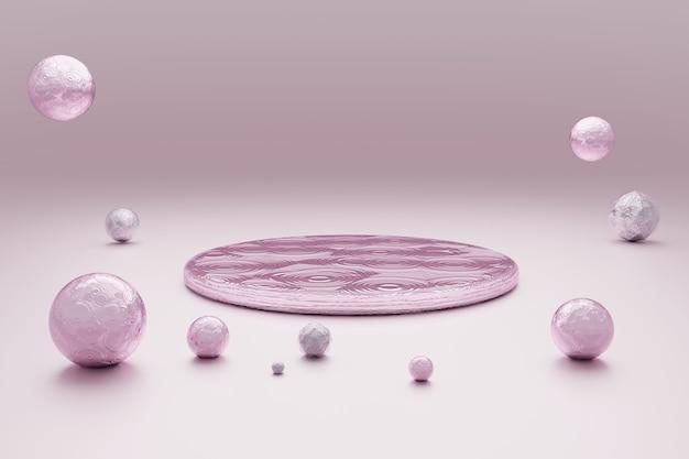 Abstracte pastel roze achtergrond met ronde podium
