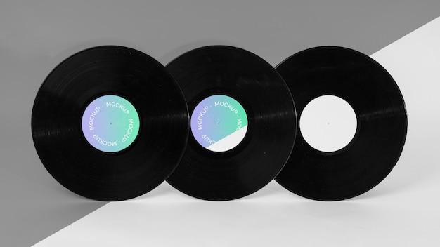 Abstracte retro vinylschijf met verpakkingsmodel