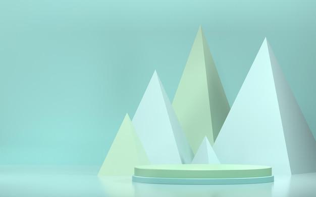 Abstracte scène voor productvertoning met geometrische vormen