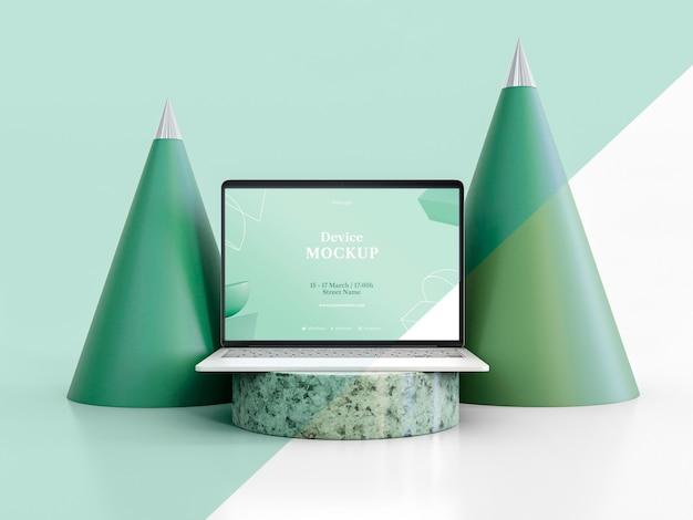Abstracte steen en laptop Gratis Psd