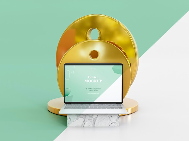 Abstracte steen en laptop