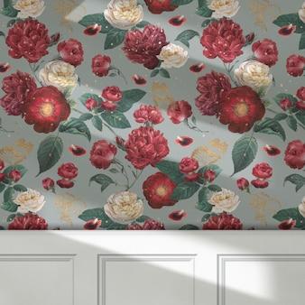 Abstracte verf over een mockup-ontwerp van een dressoir