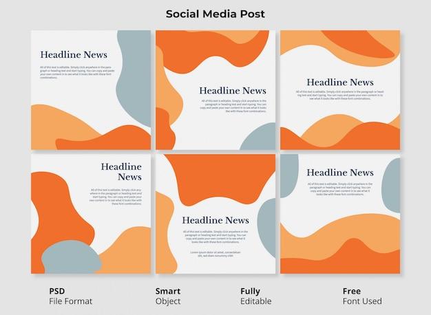 Abstracte vormen instagram postsjabloonbanner met volledig bewerkbare psd