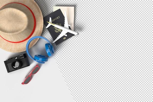 Accesorios de avión y viajero, artículos de vacaciones imprescindibles. viaje de vacaciones de aventura y viajes. plantilla de maqueta de banner de diseño de concepto de viaje. representación 3d