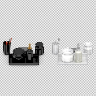 Accesorios de baño isométricos 3d aislados render