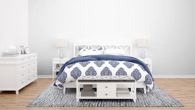 Accogliente camera da letto o camera d'albergo con letto matrimoniale e mobili in legno