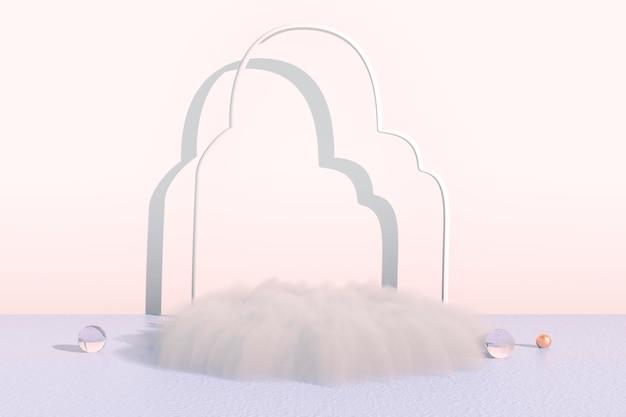 Achtergrond 3d-rendering met podium en minimale wolkenscène, minimale productweergave-achtergrond.