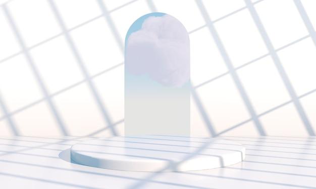 Achtergrond 3d-rendering met podium en minimale wolkenscène