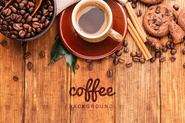 Achtergrond met koffie en koekjes