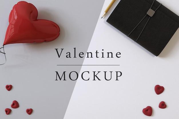 Achtergrondmodel met samenstelling van valentine-voorwerpen