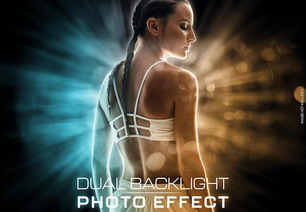 Achtergrondverlichting gloeiend portret foto-effect Premium Psd