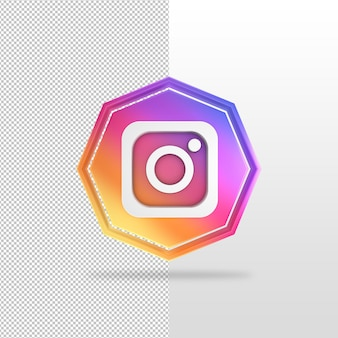 Achthoek instagram 3d render pictogram