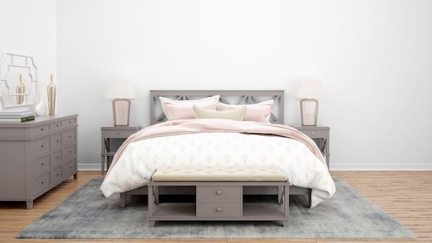 Acogedora habitación o habitación de hotel con cama doble y muebles de madera.