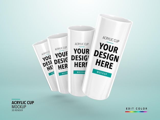 Acryl cup mockup 3d render realist longdrink