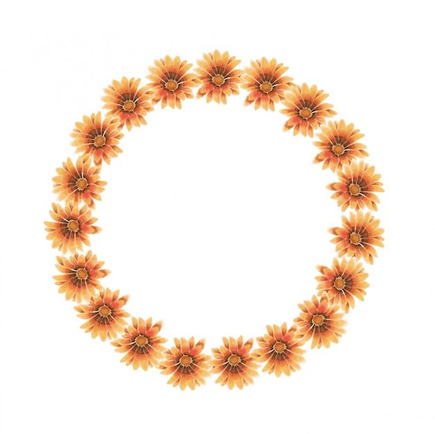 Acuarela guirnalda de gazania amarillo, naranja y marrón.