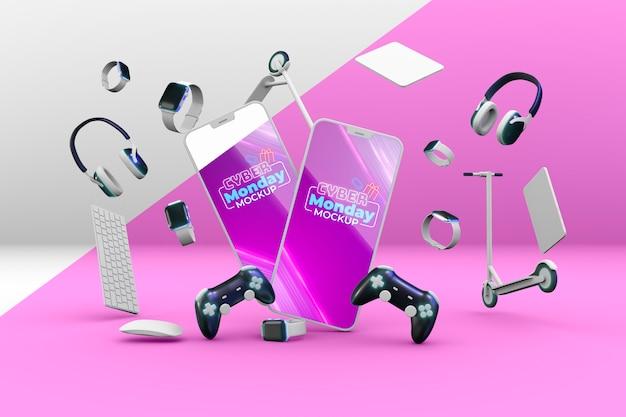 Acuerdo de venta de cyber monday con maqueta de teléfonos