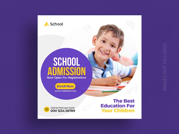 Admisión a la educación escolar plantilla de flyer cuadrado y banner de publicación en redes sociales