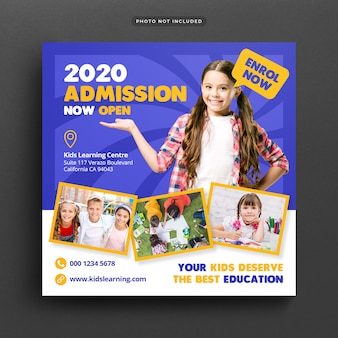 Admisión a la educación escolar publicación en redes sociales y banner web