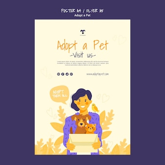 Adopta un diseño de plantilla de póster para mascotas