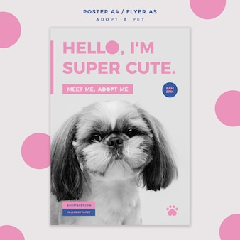 Adopta una plantilla de póster de concepto de mascota