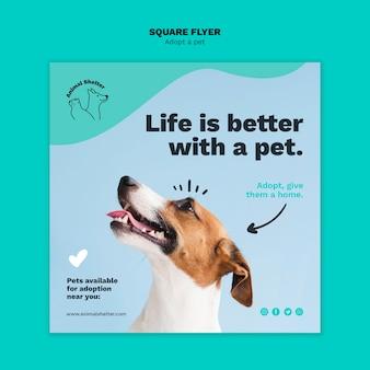 Adopta una plantilla de volante cuadrado para mascotas