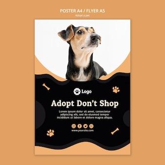 Adoptar una plantilla de póster de concepto de mascota