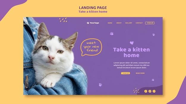 Adopte una página de inicio de plantilla de gatito