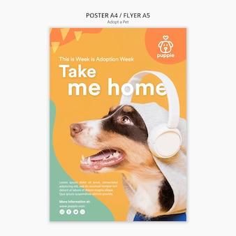 Adopteer een huisdier flyer-stijl