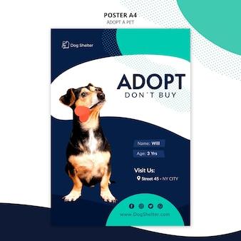 Adopteer een huisdier poster sjabloon