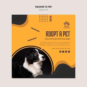Adopteer een huisdier uit de vierkante flyer van het asiel