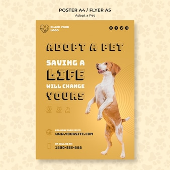 Adopteer een huisdierconcept poster sjabloon