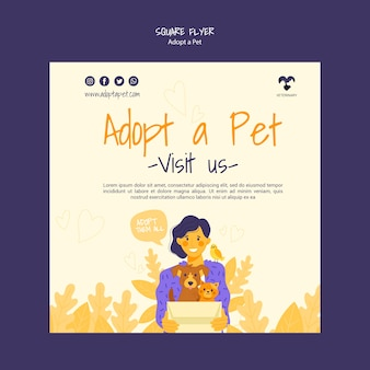 Adopteer een vierkante flyer voor huisdieren