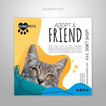 Adopteer een vierkante sjabloon voor huisdieren met foto van kat
