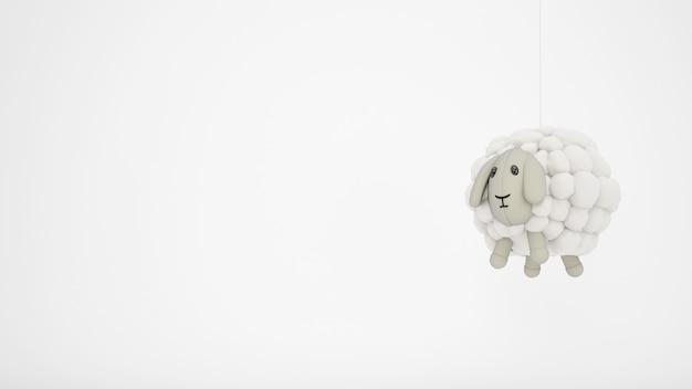 Adorable juguete de oveja de lana con copyspace blanco