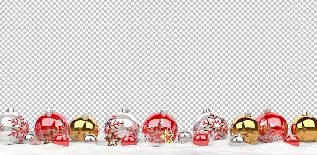 Adornos navideños aislados alineados en la nieve