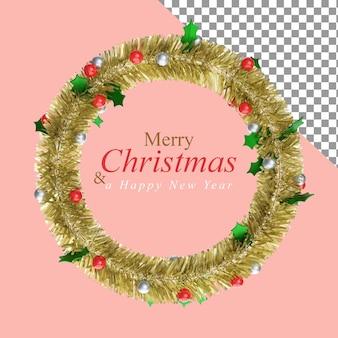 Adornos navideños con la bola roja y ramas de pino en la ilustración 3d