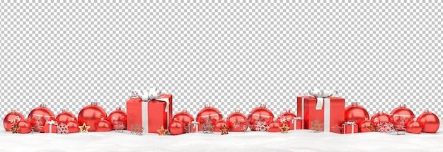 Adornos navideños rojos aislados y regalos en la nieve