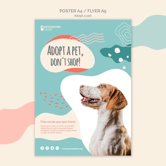 Adotta un design volantino per poster per animali domestici