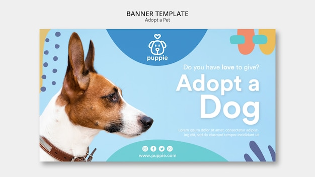 Adotta uno stile modello banner per animali domestici