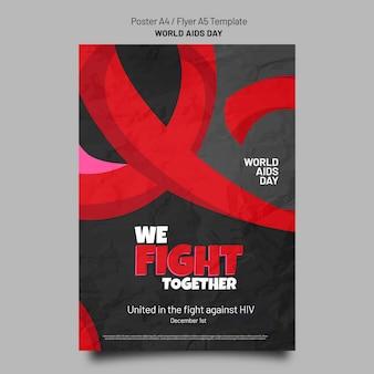 Afdruksjabloon voor aids-dagbewustzijn