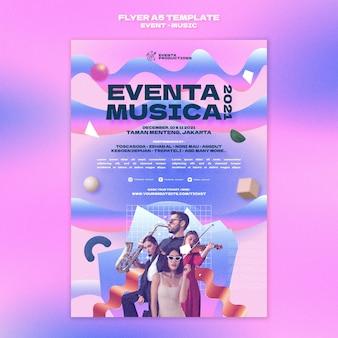 Afdruksjabloon voor muziekevenementen in retrostijl