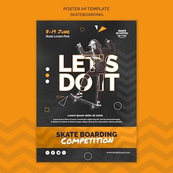 Afdruksjabloon voor skateboarden met foto