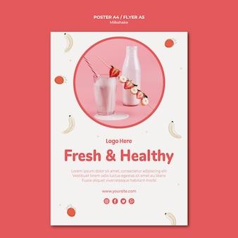 Affiche voor aardbeienmilkshake