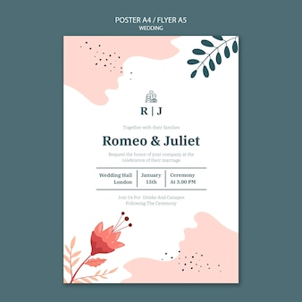 Affiche voor bruiloft met bloemen Gratis Psd